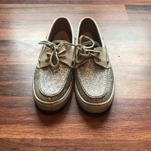Sperry glitter boat shoes.